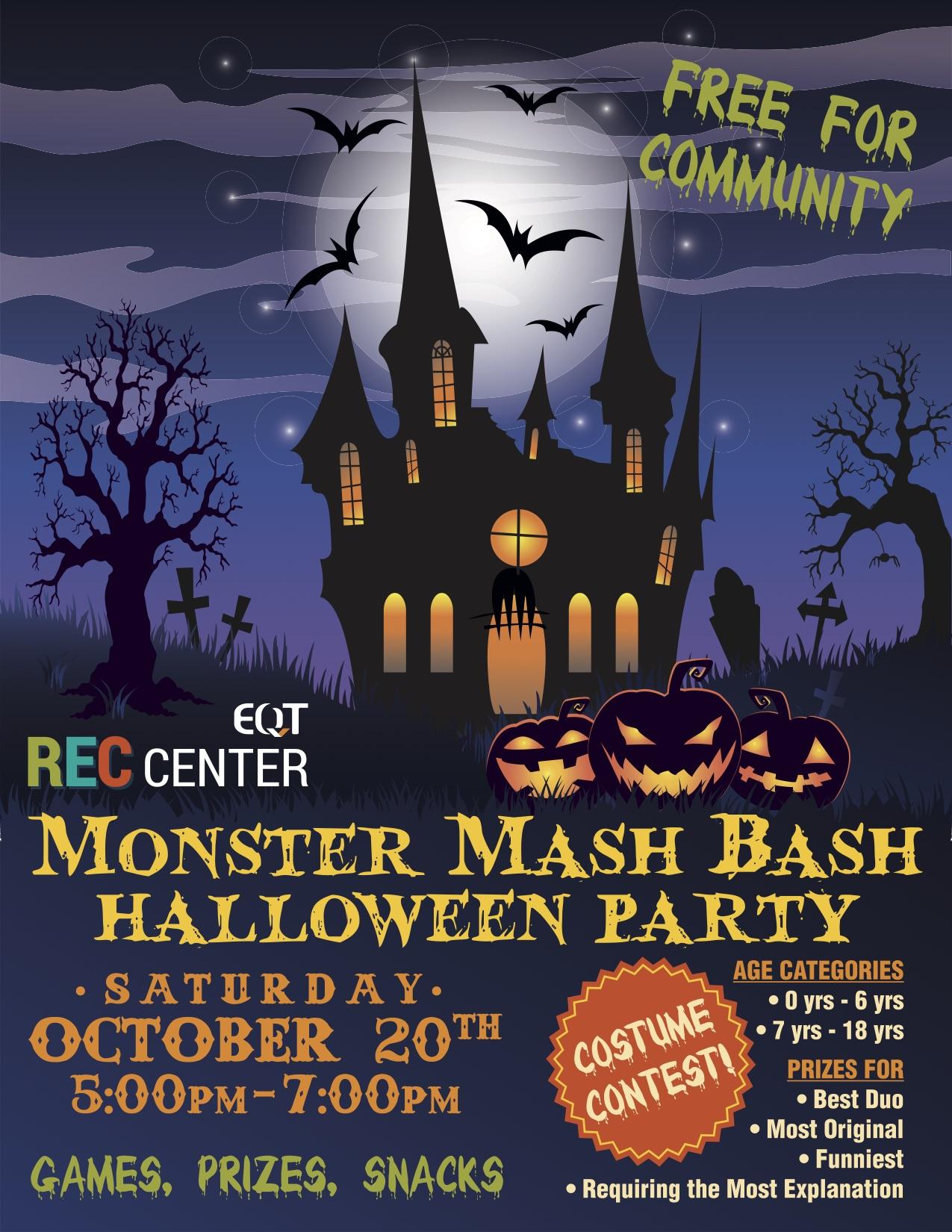 monster mash bash halloween party - eqt rec center