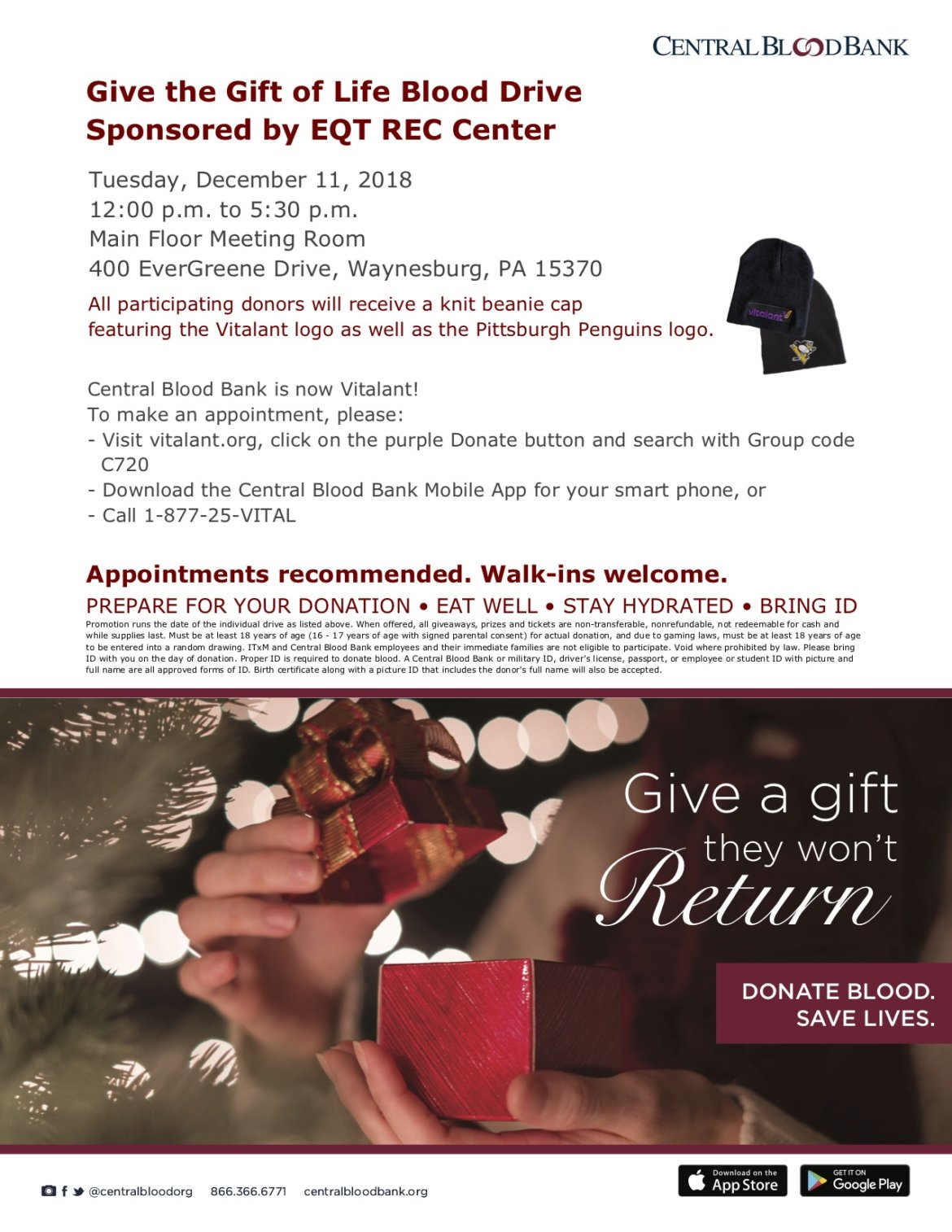 Give the Gift of Life Blood Drive Sponsored by EQT REC Center