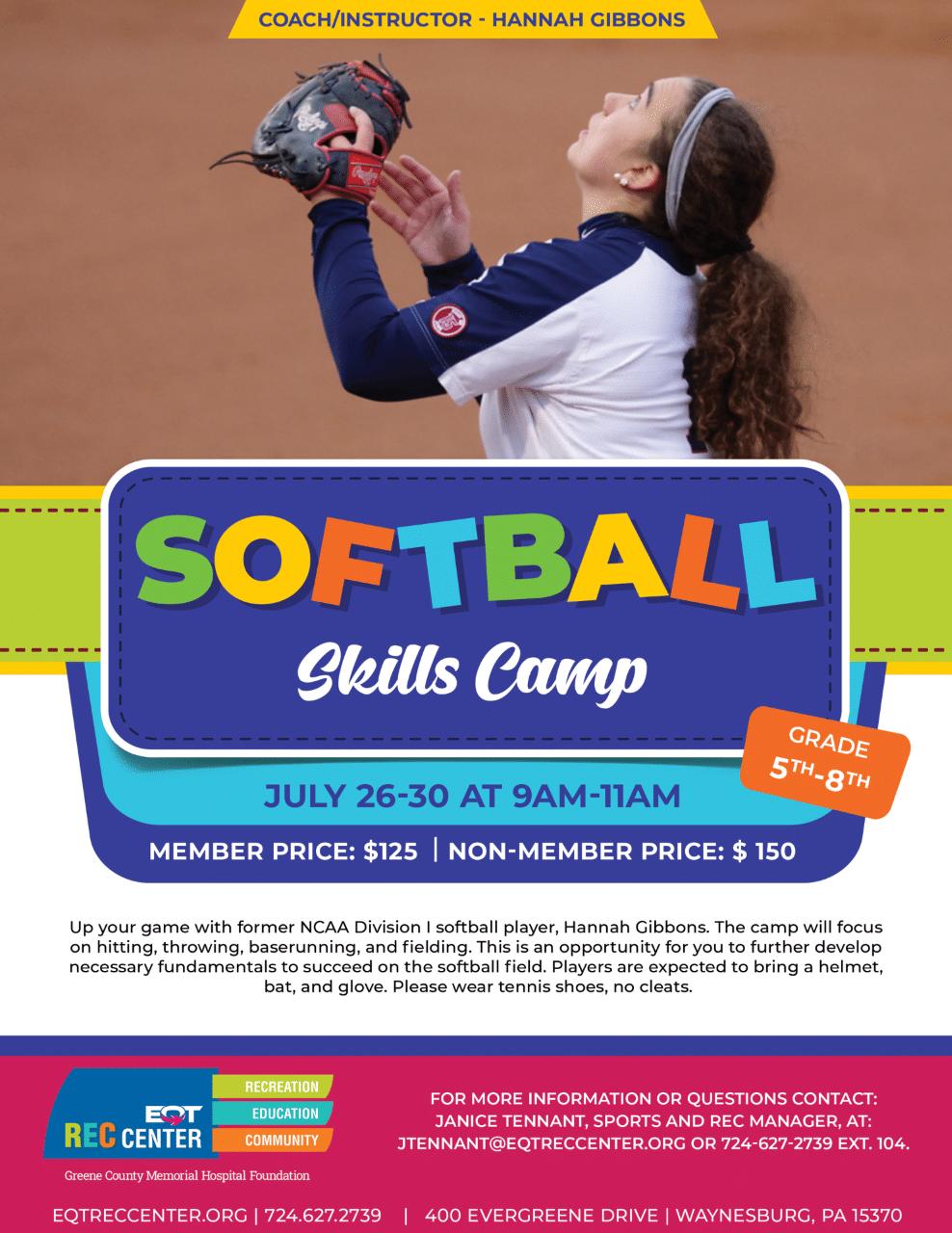 Softball Skills Camp EQT REC Center Summer Sports Camp